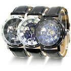 New Classic Men's Black Leather Skeleton Dial Mechanical Army Wrist Watch Sport