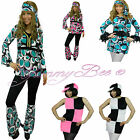 60s Hippy Fancy Dress Costume Plus Size 6-16 Ladies Outfit Hippie GoGo Womens