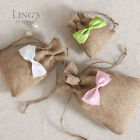 14 Colors Bow Hessian Gift Candy Burlap Bag Rustic Jute Drawstring Bags 3 size