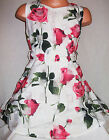 GIRLS 50s STYLE CREAMY WHITE ROSE PRINT FLARED BRIDESMAID PROM PARTY DRESS