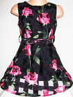 GIRLS 50s STYLE BLACK ROSE PRINT FLARED BRIDESMAID PROM PARTY DRESS