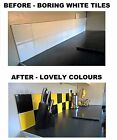 "Black & Yellow Stickers Transfers for Kitchen Bathroom Tiles 6 x 6""  Tiles 150mm"