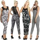 Womens Italian Lace Jumpsuit Paisley Print DogTooth Patterned Lace Top S M L XL