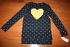 NWT $34 OSHKOSH B'GOSH Navy Blue Polka Dot Shirt w/Gold Glitter Heart ~ Girls Sz