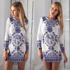 Womens Long Sleeve White And Blue Porcelain Floral Printed Summer Mini Dress