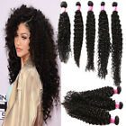 "Unprocessed Virgin human Hair Extension Curly Wave 10""-30"" Brazilian Hair Black"