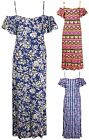 Womens Plus Size Aztec Floral Print Ladies Short Sleeve Strappy Long Maxi Dress