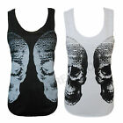 LADIES TWIN TRIBAL AZTEC SKULL PRINT VEST WOMEN SLEEVELES TOP SIZE8 10 12 14