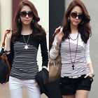 Voguish Women Long Sleeve Stripe Crew Neck Tops T-Shirt Slim OL Blouse Tee Nice