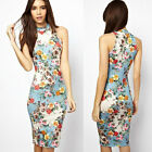 New Women Vintage Casual Cocktail Bodycon Party Evening Slim Floral dress XS S M
