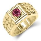 0.50 Ct Round Pink AA Tourmaline AA 14K Yellow Gold Men's Solitaire Ring