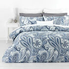 In 2 Linen PAISLEY BLUE Floral 300TC Cotton Quilt Doona Cover Set RRP:$169