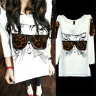 Cute Women Print Animal Long sleeve Loose Casual T shirt Tops Blouse White Best