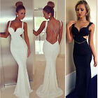 hot Mermaid Sexy V Neck Women backless Masquerade Evening Prom Party Long Dress