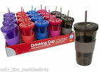 450ML PLASTIC DRINK ICED COFFEE JUICE CUP BEAKER LID SMOOTHIE PARTY WITH STRAW