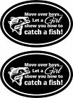 2 MOVE OVER BOYS ....funny bass catfish trout walleye Fishing vinyl stickers