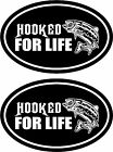 2 HOOKED FOR LIFE Bass Catfish Walleye Fishing boat car vinyl decals stickers