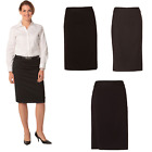 WOMENS LADIES POLY/VISCOSE STRETCH MID LENGTH LINED PENCIL WORK SKIRT SUIT BLACK