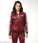 Adidas Originals Women Red Clash Floral Roses Track Jacket Top New XS S M