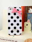 White iPhone 5 Case Cover Black Polka Dot Kate Plastic Cover With Cute Bow