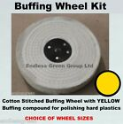 Hard Plastic Polishing Kit - Stitched Cotton Buffing Wheel, Pigtail & Yellow Bar