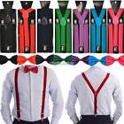 Gentlemen Men's Pre-Tied Y-Back Adjustable Bowtie Clip Suspenders For Wedd N98B