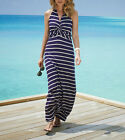 Figleaves Rowan Halter Maxi Stripe Dress Various sizes Backberry / stone RRP £50