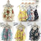 Women Lady Casual Strap Floral Print Chiffon Shirt Vest Blouses Crop Top