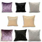 Riva Home Diamante Velvet Crystal Beaded Quilted Square Cushion Cover
