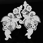 Hot 2pcs Sewing Trims Embroidered  Venise Flowers Appliques Bridal Dress Crochet