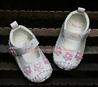 Baby Girl White Mary Jane Flowers Sandals Crib Shoes Size Newborn to 12 Months