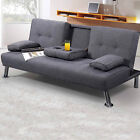 Modern Stylish Fabric Sofa Bed Lime Green / Grey Upholstered Compact 2/3 Seater