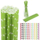 25pcs Colorful Paper Drinking Straws Vintage Striped Party Birthday Wedding
