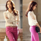 Modern Women Sheer Sleeve Embroidery Lace Crochet Tee ChiffonTop Blouse Popular