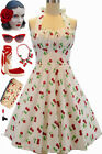 PLUS SIZE 50s Style White CHERRY BOMB Cherries Pinup Betty HALTER TOP Sun Dress