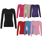 DIVADAMES Ladies plain viscose Top Long Sleeves Stretchy Fitted T-shirt-8-12