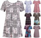 Womens Plus Size Floral Print Ladies Short Sleeve Ruched Gather Smock Top Dress
