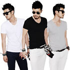 New Fashion Men Slim Fit Cotton V-Neck Short Sleeve Casual T-Shirt Tops 3Color