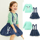 New Kids Baby Girls Rabbit Tops T-shirt Denim Strap Skirts Two-piece Party Dress