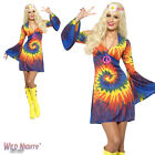 FANCY DRESS COSTUME # LADIES 1960's TIE DYE DRESS WITH BELL SLEEVES 8-18