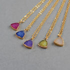 12mm Wholesale 5 String Triangle Agate Druzy Charm Necklace Gold Plated BG0286