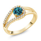 0.90 Ct Round London Blue Topaz 18K Yellow Gold Plated Silver Ring