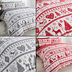 SNOWFLAKE CHRISTMAS REINDEER REVERSIBLE QUILT DUVET COVER SET RED GREY SILVER