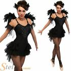Ladies Black Swan Ballerina Gothic Fancy Dress Costume Halloween Outfit