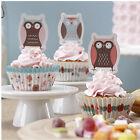 Patchwork Owl Baby Shower Christening 1st Birthday Party CupCake Cases & Toppers