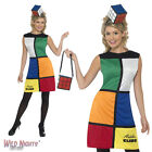FANCY DRESS COSTUME # LADIES 1970s 80s RETRO RUBIKS CUBE DRESS SIZES 8-18