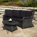 Alcee Resin Wicker Outdoor Sofa and Coffee Table Set