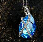 Beautiful 18k White Gold Plated Teardrop Crystal Pendant Necklace Nf15