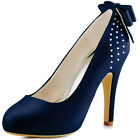 EP11034 Navy Blue Closed Toe High Heel Pumps Bowknot Satin Wedding Party Shoes