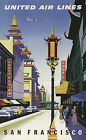 SAN FRANCISCO..United Air Lines..Vintage Art Deco Travel Poster A2A3A4Sizes